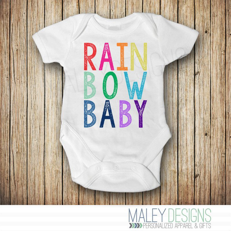 Rainbow Baby Grow Babygrow Name Gift Born Love Rain Bow Miracle Sweet Boy Girl