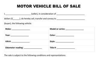 Motor Vehicle Bill Sale Form Bill Of Sale Form Free Bill