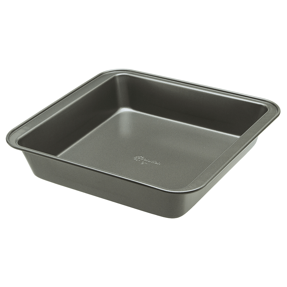 """Gray BPA and PTFE Free Non-Stick Coating Heavy Duty Carbon Steel Ecolution Bakeins Square Cake Baking Pan 9/"""" x 9/"""" x 2/"""" PFOA Dishwasher Safe"""