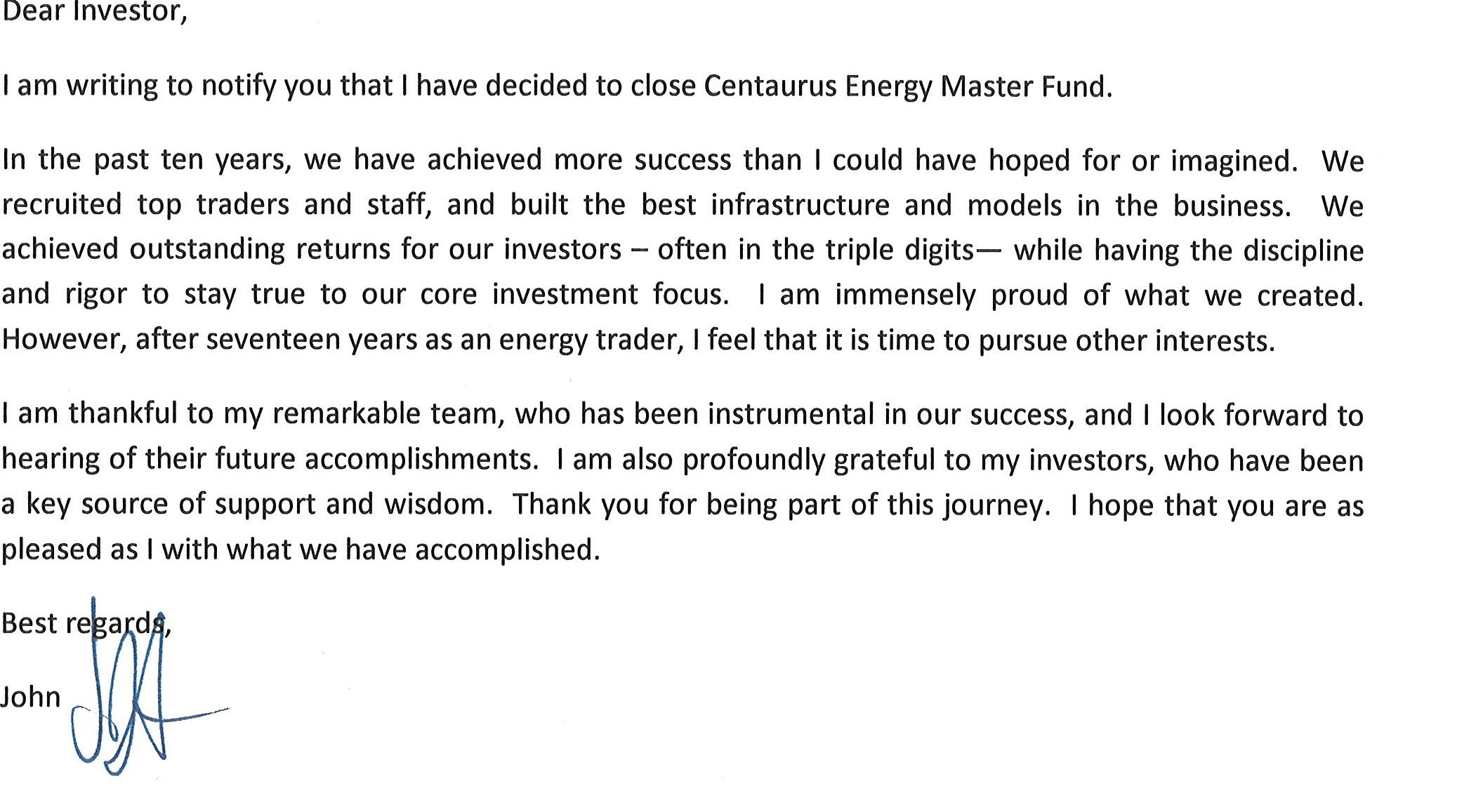 John Arnold Closing Centaurus Energy Master Fund As Central Goodbye