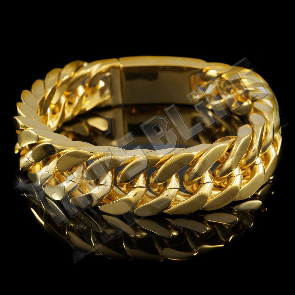K gold plated cuban miami chain link stainless steel men womens