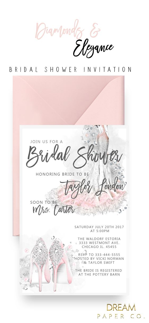 Bridal Shower Invitation Diamonds And Elegance Cheap Bridal Shower Invitations Bridal Shower Invitations Diy Spring Bridal Shower Favors