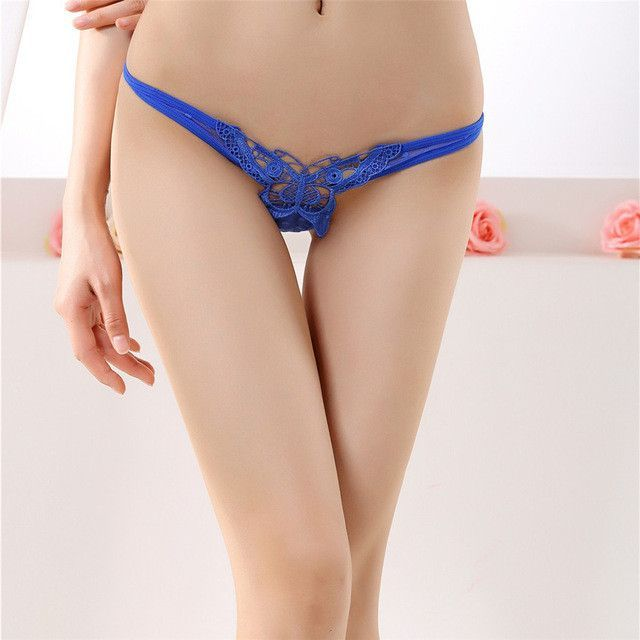 33bacda0ae Personality women s underwear butterfly embroidery transparent sexy panties  female lace temptation low-waist briefs