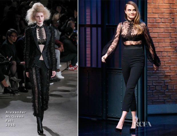 Cara Delevingne In Alexander McQueen – Late Night with Seth Meyers