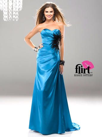 Flirt Prom by Maggie Soterro - P5710 Looking for a Flirt classic with a fun twist? Look no further. Timeless sweetheart neckline with a funky feather cluster on bodice adds pizzazz to this tried and true dress!