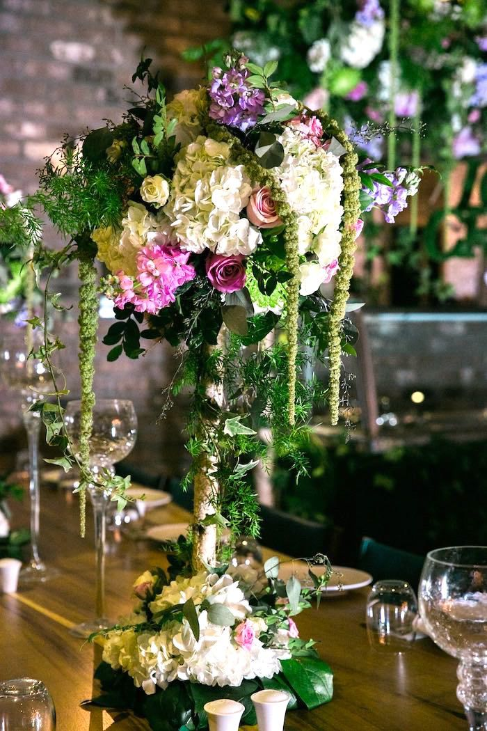 Amazing draped floral arrangement from a secret garden for Flower arrangements for parties