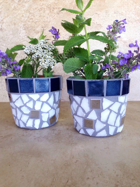 Herb pots for kitchen - Mosaic Flower Pot Set Tiny Planters Succulent Pots Handmade Kitchen Herb Pot Outdoor Planter Air Plant Pot Rustic Terracotta Planters