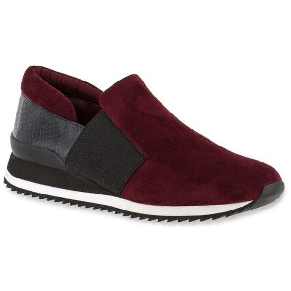 Bella-Vita Burgundy Ezra Athleisure Slip On - Women's ($100) ❤ liked on Polyvore featuring shoes, sneakers, burgundy, slip on trainers, grip shoes, grip trainer, wide shoes and stretchy shoes