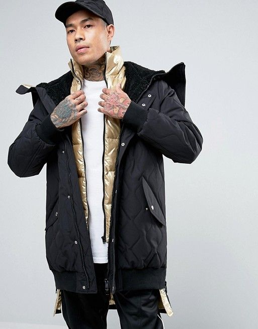 ASOS | ASOS Padded Black Parka Jacket With Gold Inner