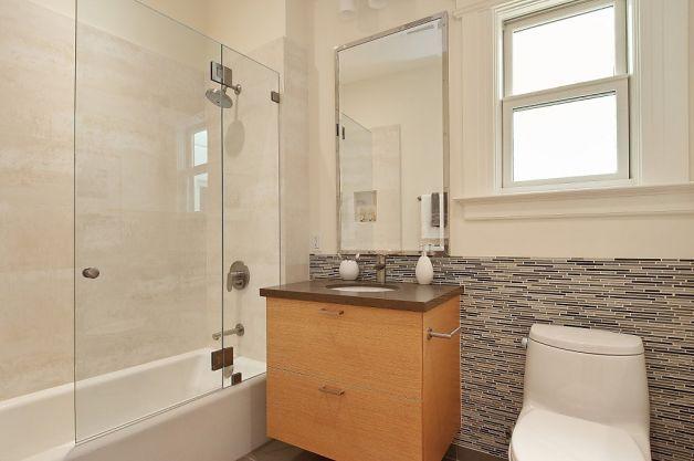 glass showers doors for upstairs bathroom