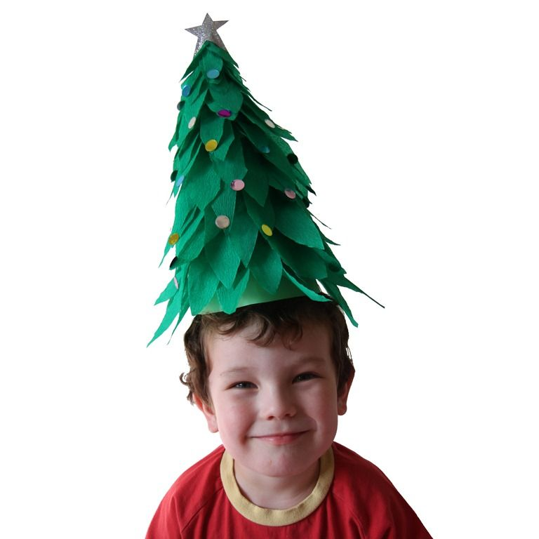 Christmas Tree Hats: Christmas Tree Crepe Paper Hat By Jellyfish Jelly