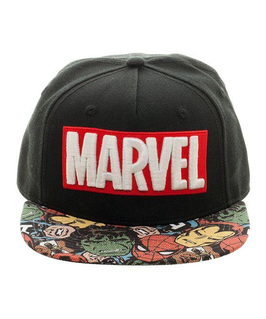 7df0f6e6392 Black Marvel Logo Baseball Cap Marvel Logo