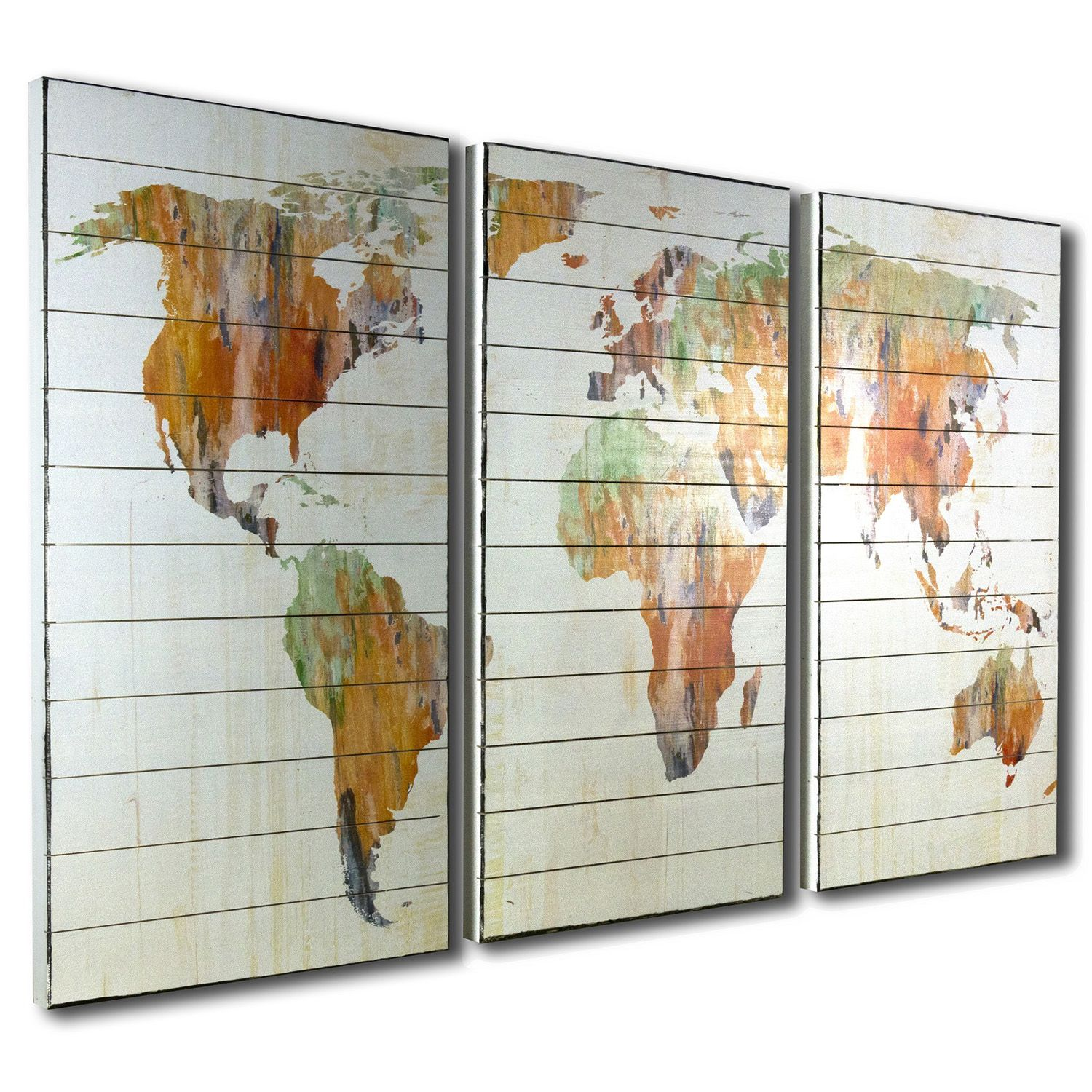 world map abstract triptych panel print on wood