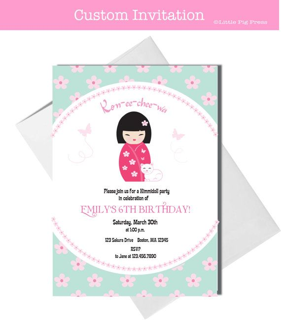 Japan Party Invites Etsy Japanese Theme Parties Baby Girl 1st Birthday