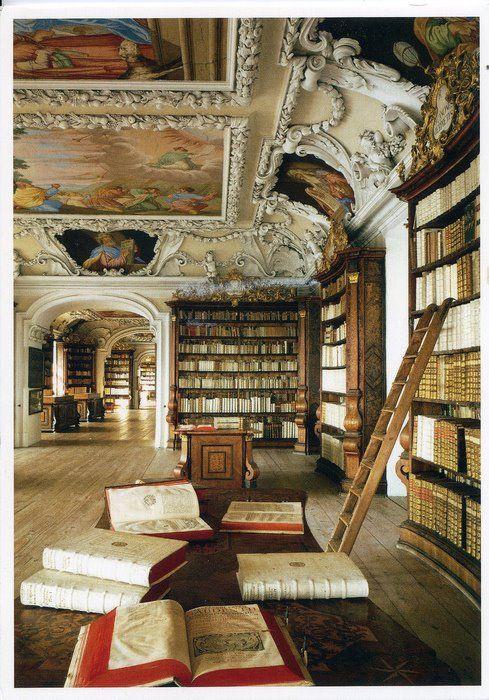 Benedictine abbey library, mont saint michel, france