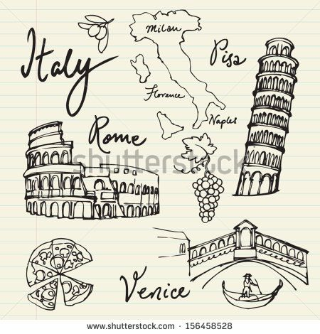 Photo of Set Italy Icons Doodle Vector Illustration Stock Vector (Royalty Free) 156458528
