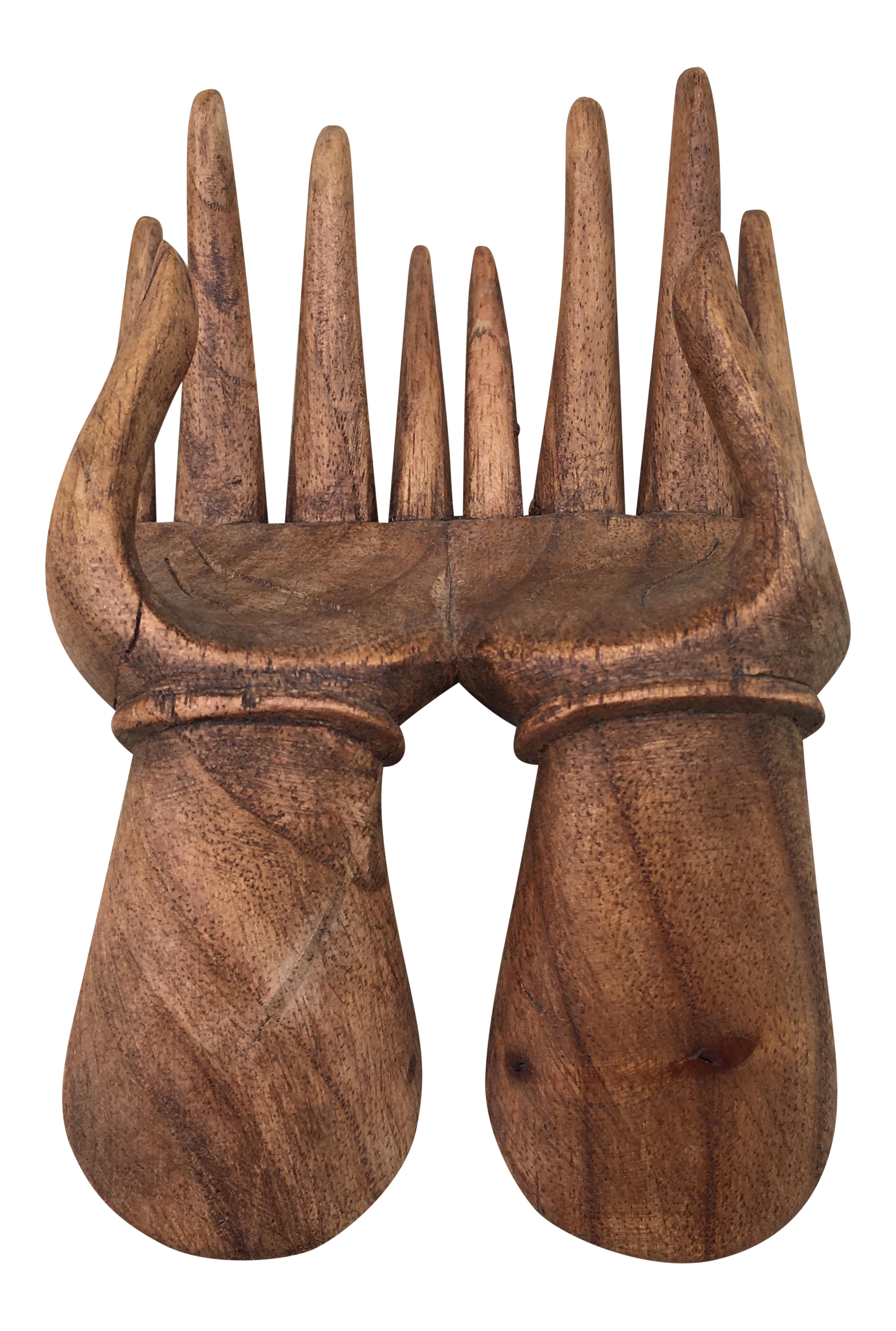 Carved Wood Hands Business Card Holder