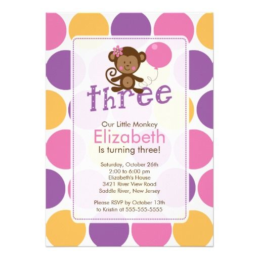 third birthday little monkey birthday invitation birthday