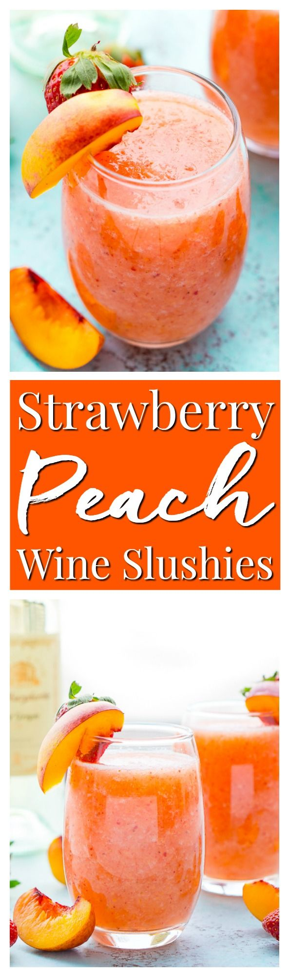Strawberry Peach Wine Slushies are made with just a few ingredients and a blender. Mix them up for a night with the girls or a summer day by the pool! via @sugarandsoulco #summeralcoholicdrinks