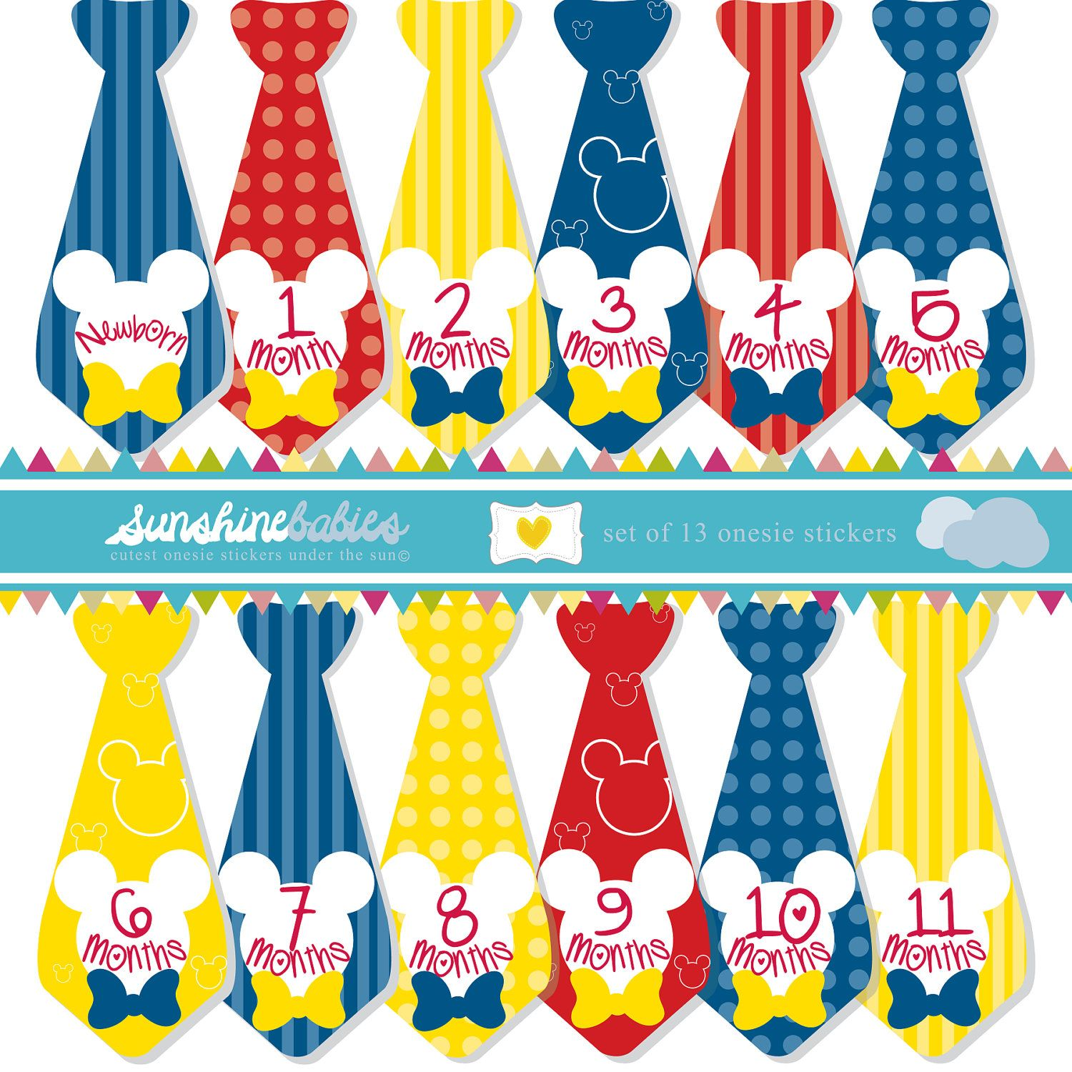 Monthly Baby Onesie Tie Stickers For Boys Mickey Mouse