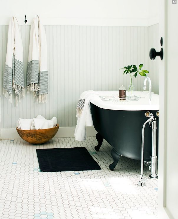 Beadboard Over Tile In Bathroom: Light Gray Wainscoating And Black Clawfoot Tub. Exactly