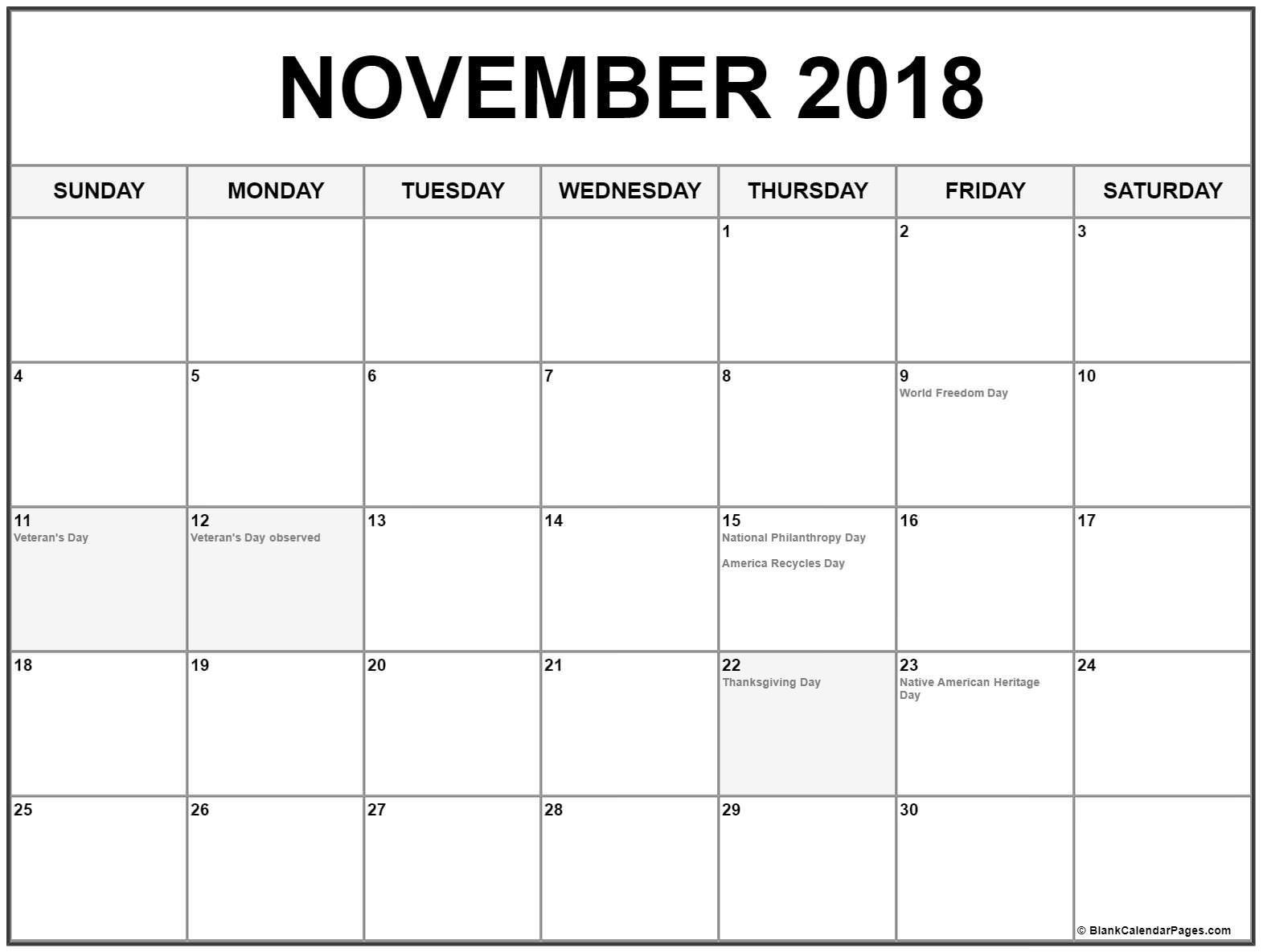 November 2018 Calendar Usa November Calendar Calendar