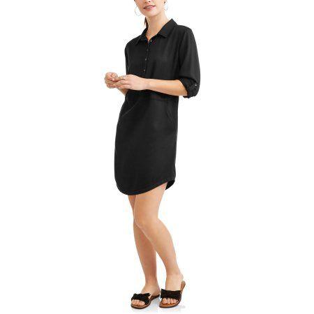 d019d2d05d6 Time and Tru Women s Lyocell Shirt Dress - Walmart.com