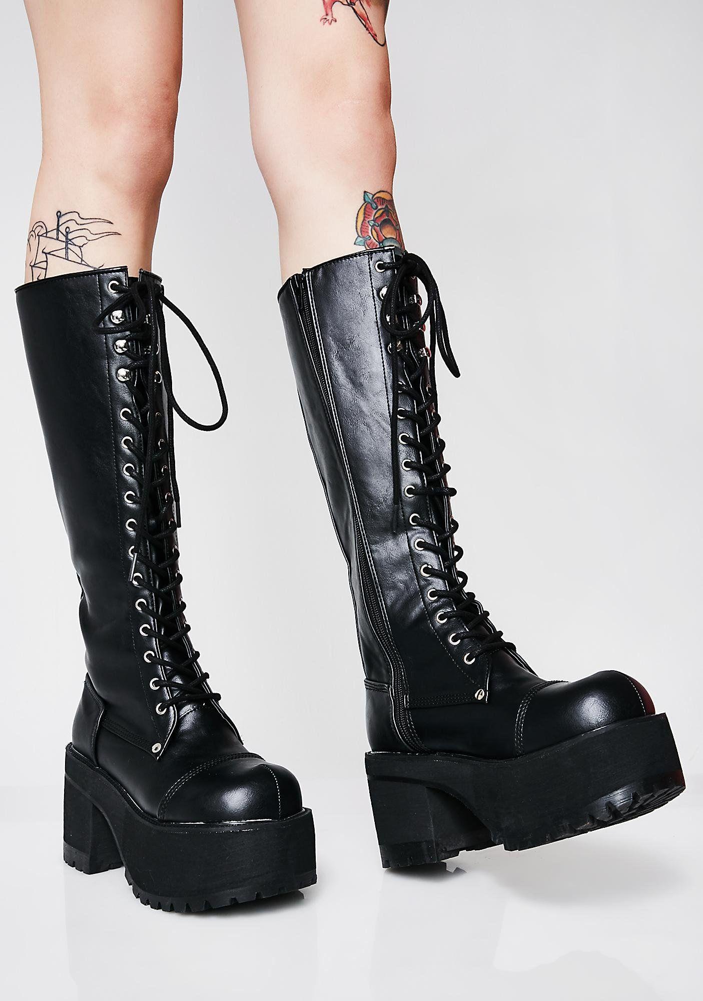 ce562fbb689 Demonia Lurkin  On Ya Platform Boots will have ya feelin  like a yung  frankenqueen