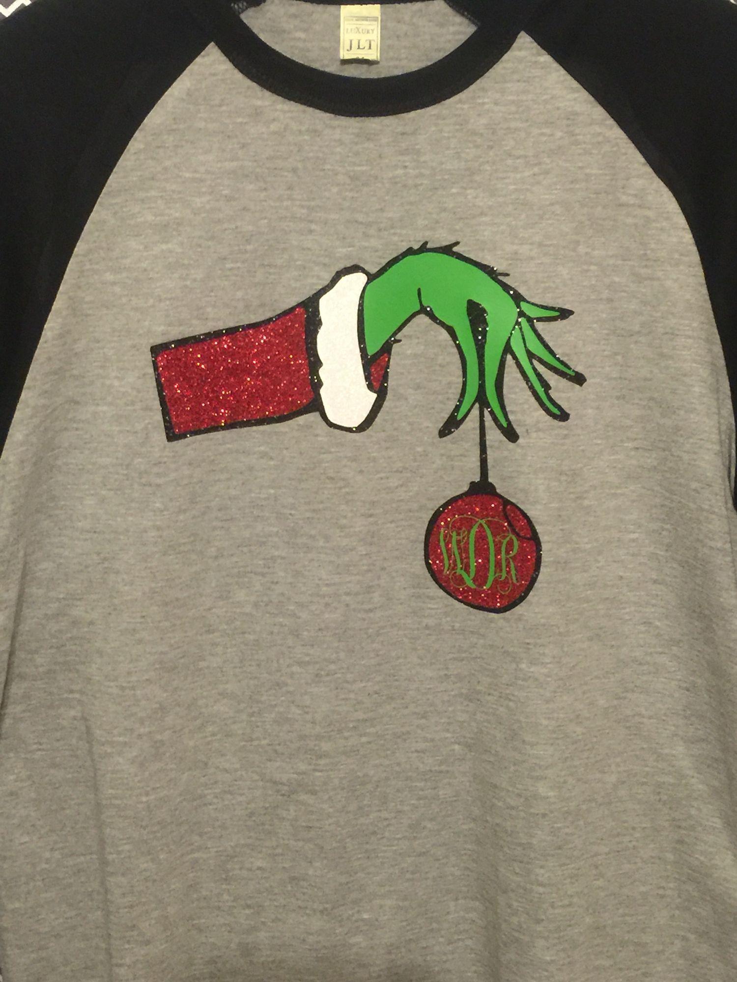 76ca4180b945 Grinch hand glitter shirt www.harleyshottitude.com | Custom shirts ...