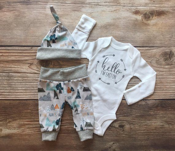 0fcb16990890 Hello I m Adventure Awaits Newborn Boy Coming Home Outfit