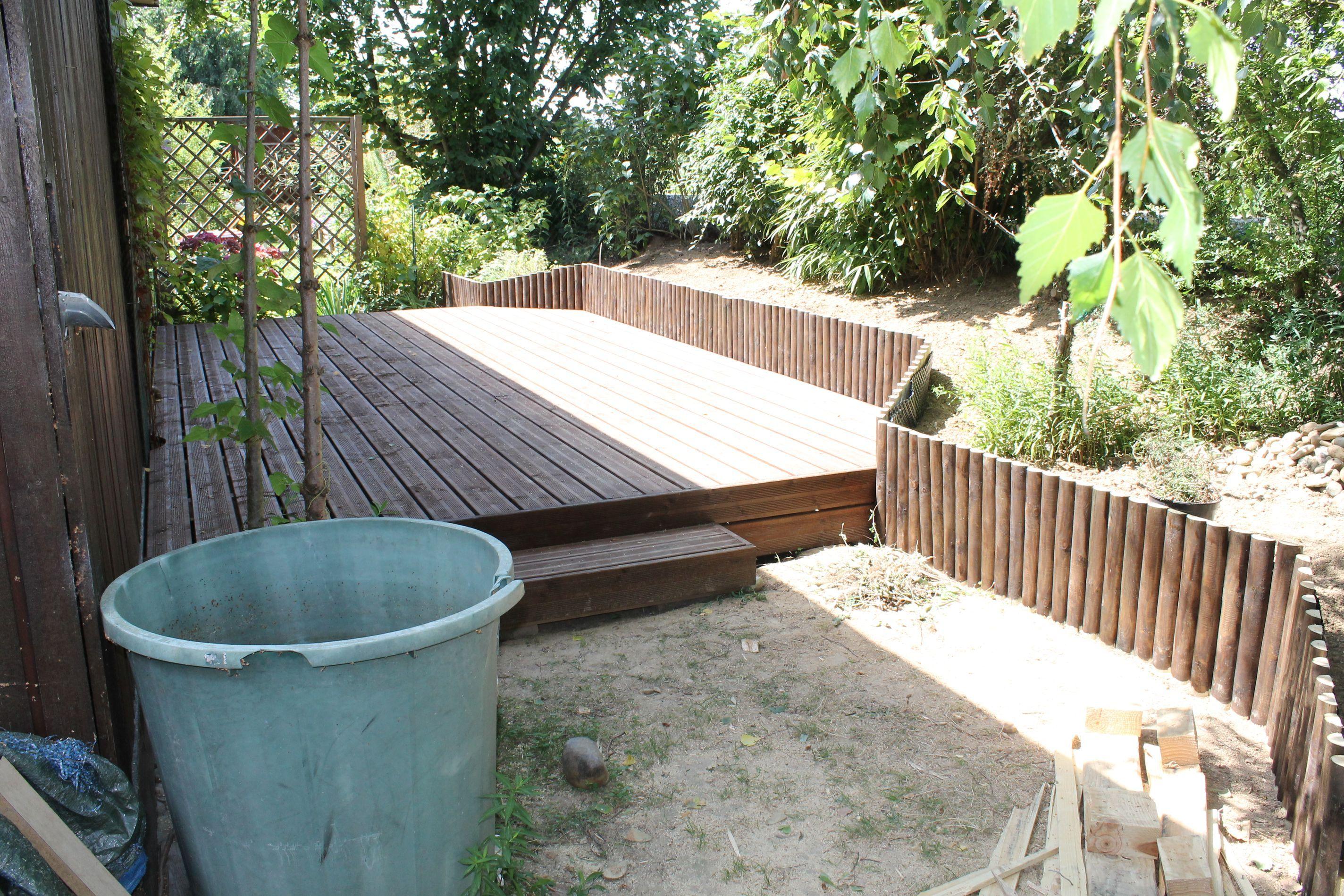 Terrasse bois sur lev 40 cm pic a teint bosch au for Teinte bois exterieur