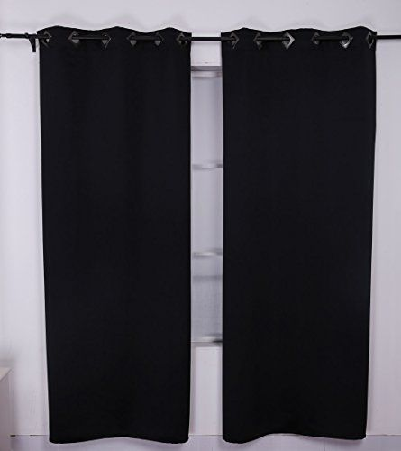 deconovo thermal insulated blackout curtains for bedroom 52 by 63inch black