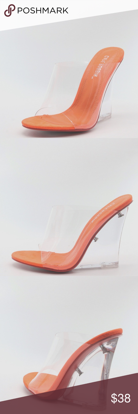 fcfb9f9fe7a NEW🔥 Orange Transparent Clear Wedge Heel Sandals We're not one to ...