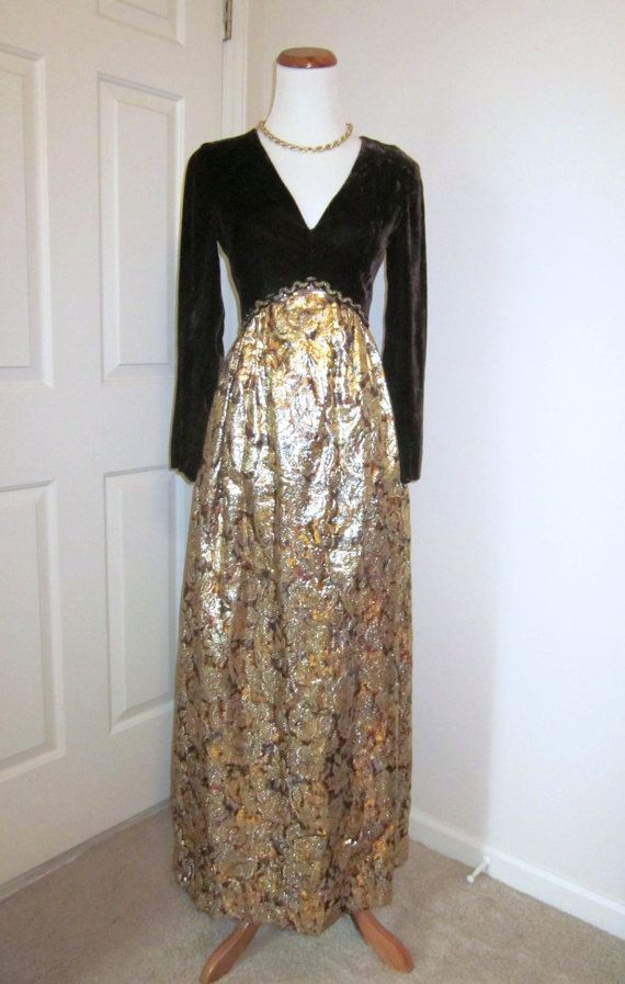 Vintage 1970s Dress Futura Couture of New York Brown by TenderLane, $89.00