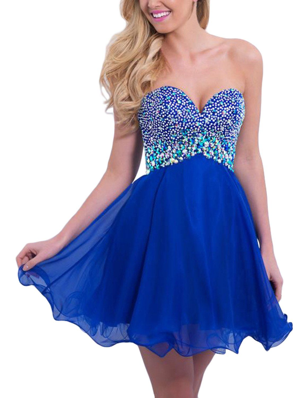 Seasonmall womens short prom dresses a line chiffon blue homecoming