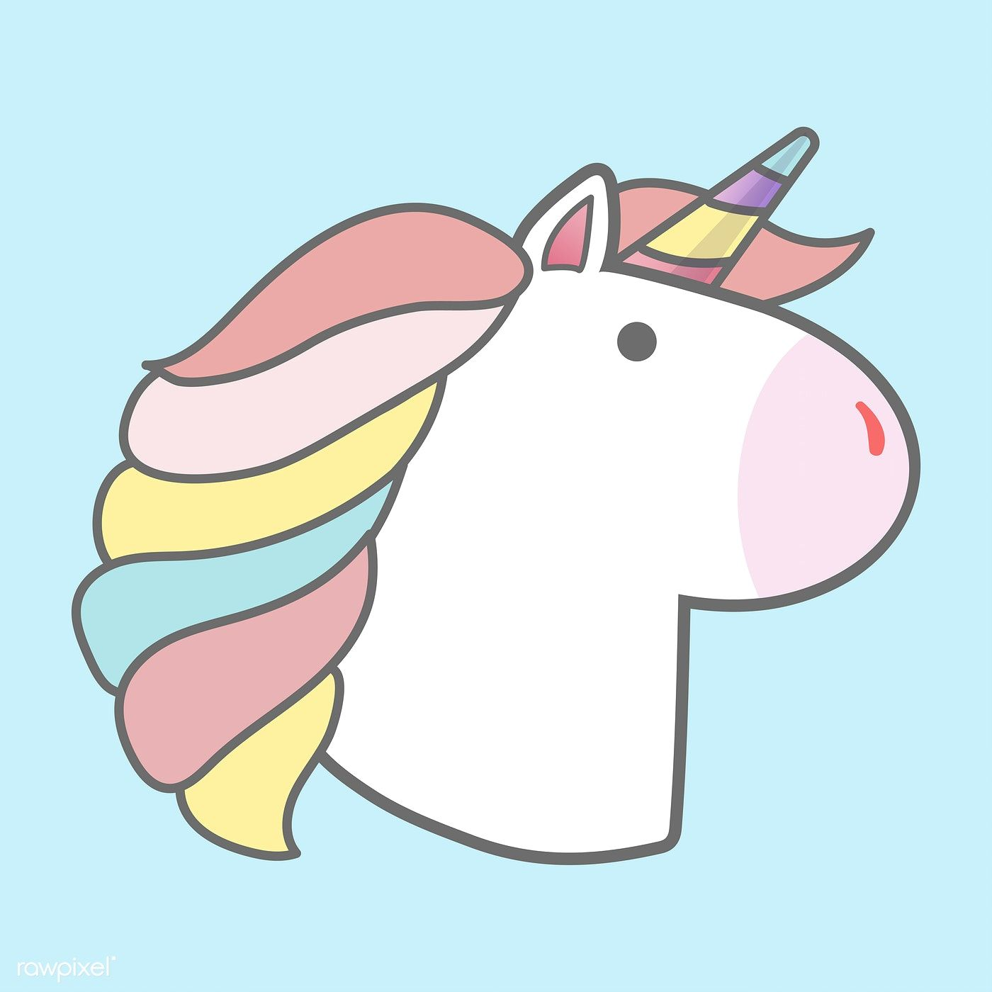 Magical Rainbow Unicorn Sticker Vector Free Image By Rawpixel Com
