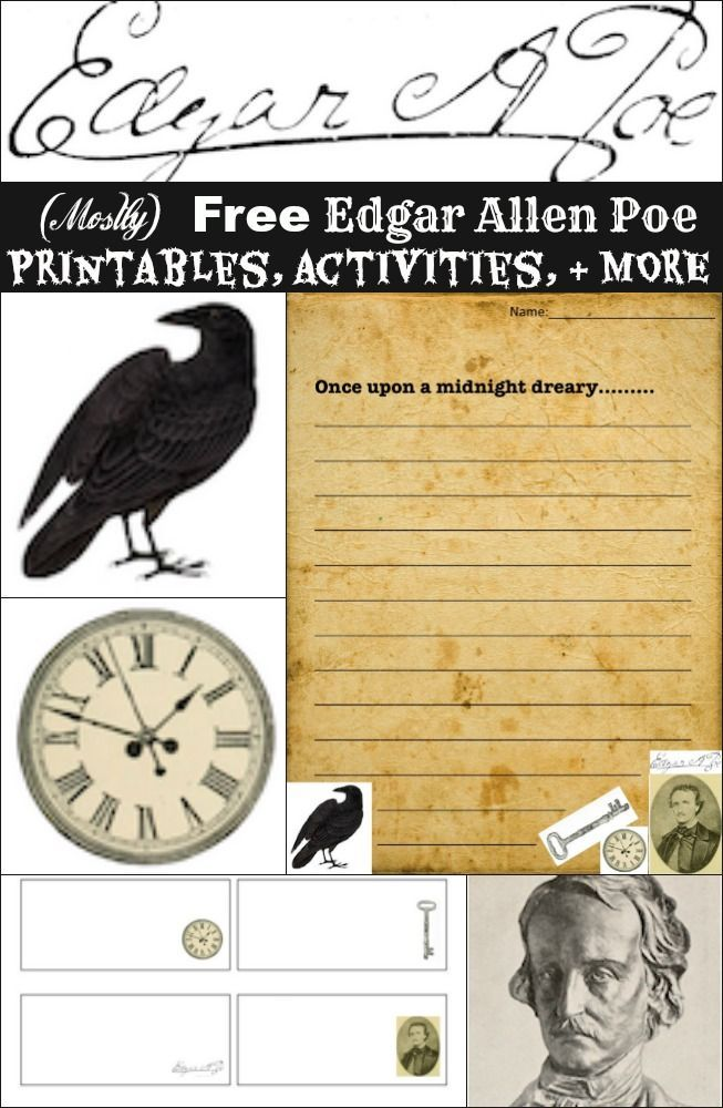 Mostly) Free Edgar Allen Poe Printables, Activities, and Gifts ...