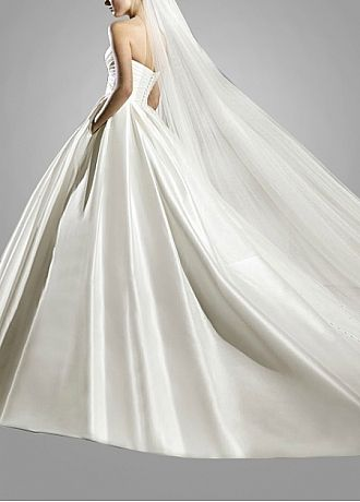 Stunning Satin Ball Gown Strapless Wedding Dress With Appliques,Beadings and Rhinestones