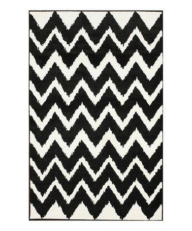 This Black White Zigzag Rug Is