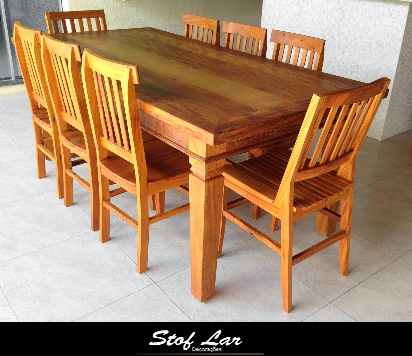 Stof Lar Decorações - Móveis em Madeira de Demolição: - Mesa Retangular + 8 Cadeiras