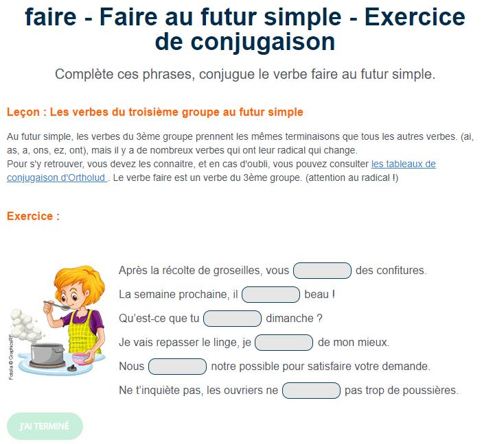 Le Verbe Faire Au Futur Simple Exercice De Conjugaison En Ligne Ou A Imprimer Futur Simple Verbe Faire Verbe Faire Au Futur