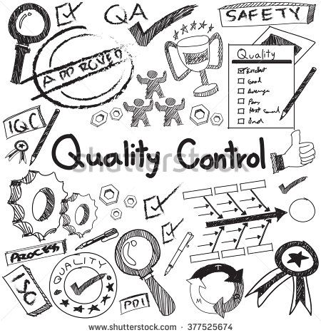 Quality control in manufacturing industry operation doodle