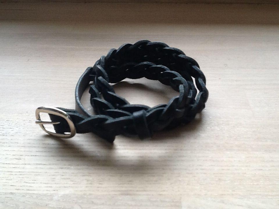 Smalt flettet læderbælte 1,6 cm bredt