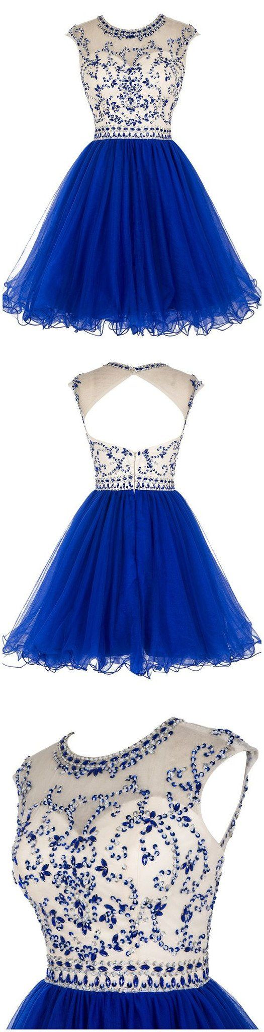 Sexy open back royal blue short tulle homecoming prom dresses