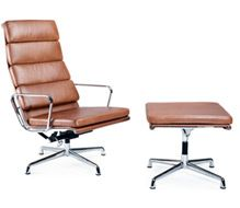Photograph Of Eames Style Soft Pad Ea222 Chair And Ea223 Ottoman