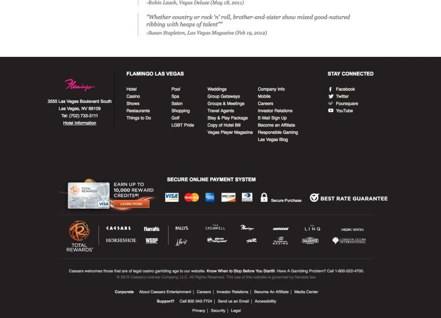 Flamingo Casino Footer Design Layout In 2020 Footer Design Layout Design Web Design