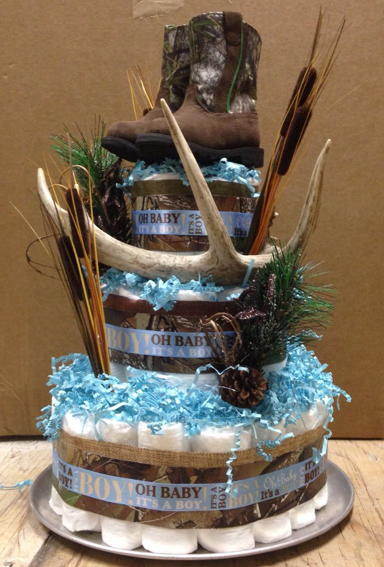 Hunting Diaper Cake With Images Baby Shower Camo Baby