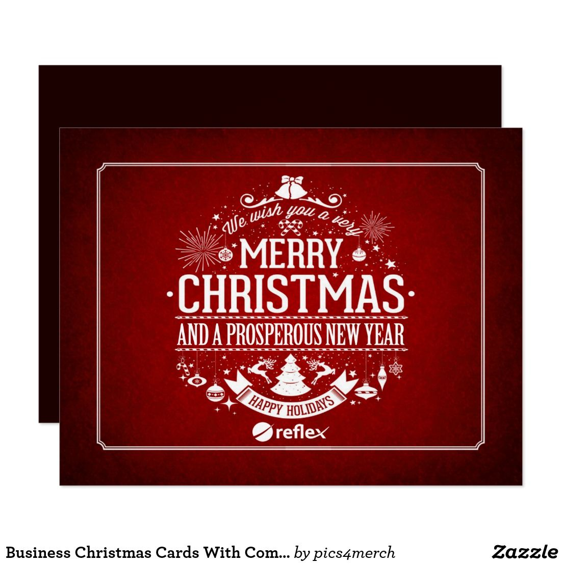 Business Christmas Cards With Company Logo Personalized Corporate Greetingcards Red Company Christmas Cards Business Christmas Cards Business Holiday Cards
