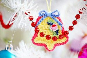 crochet Christmas tree ornaments - bell
