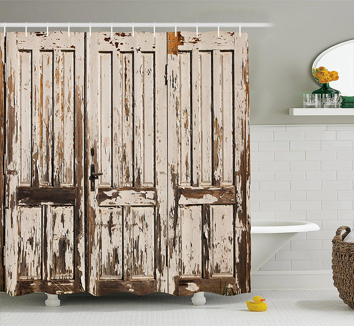 Rustic Shower Curtain by Ambesonne, Vintage House Entrance with ...